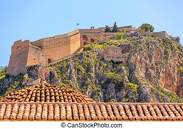 Palamidi fortress castle on hill top in Nafplio or Nafplion, Peloponnese, Greece