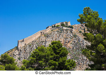 Palamidi fortress on the top of the hill, Nafplion, Greece