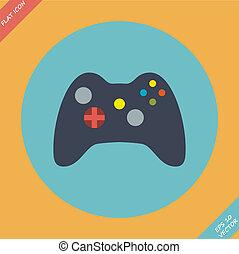 palanca de mando, computadora, regulador video del juego