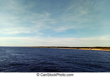 palanga, lithuania., ensoleillé, mer, baltique, jour, vue