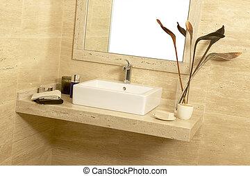 palangana, jabón, toallas