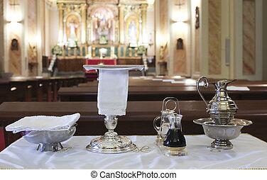 palangana, liturgical, comunión, católico, vino, aguamanil, obleas, object., agua, cáliz