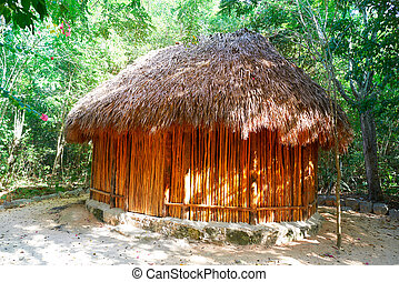 Palapa hut traditional cabin in Riviera Maya