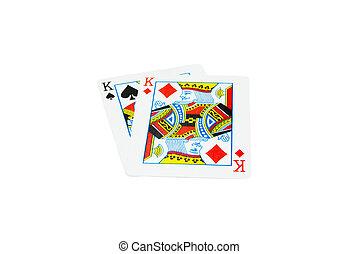 palas, -, dos, diamantes, tarjetas, reyes, juego