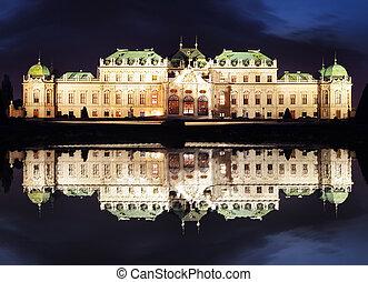 palast, -, belvedere, österreich, nacht, wien