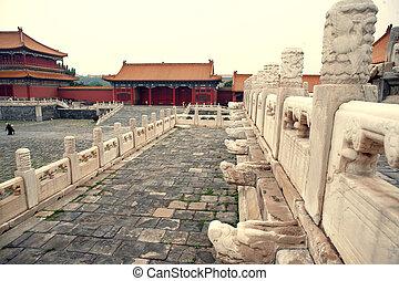 palast, museum, tor, chinesisches , nägel