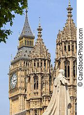 palast, von, westminster, parlament, statue, von, george, v, big ben, london, vereinigtes königreich, england.