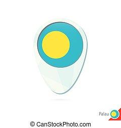 Palau flag location map pin icon on white background.