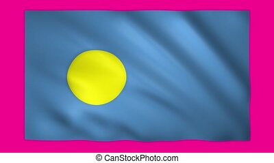 Palau flag on green screen for chroma key