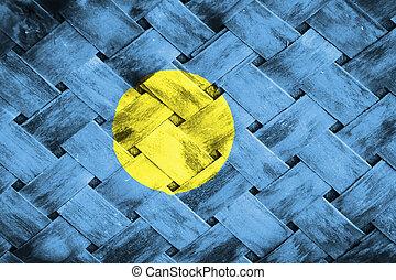 Palau flag  , Palau flag on Weave Bamboo