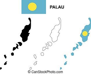 Palau map vector, Palau flag vector