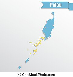 Palau map with flag inside and ribbon