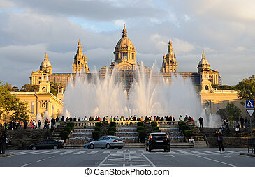 palau, nacional, バルセロナ, 噴水, マジック, スペイン