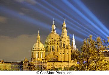Palau Nacional illuminated at night. Barcelona Spain
