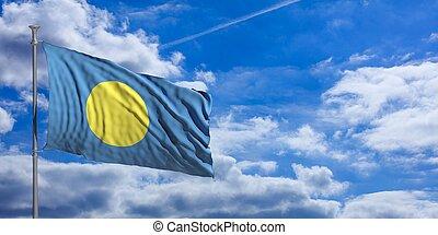Palau waving flag on blue sky. 3d illustration