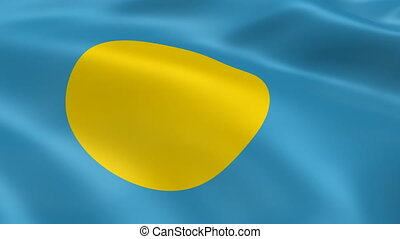 Palauan flag in the wind
