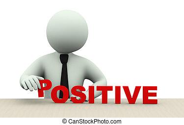 palavra, 3d, homem, positivo, negócio