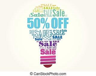 palavra, 50%, venda, bulbo, desligado, nuvem