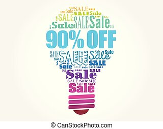 palavra, 90%, venda, bulbo, desligado, nuvem