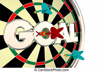 palavra, alvo, meta, missão, ilustração, junta dardo, objetivo, 3d