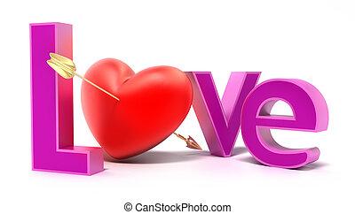 palavra, amor, com, colorido, letras