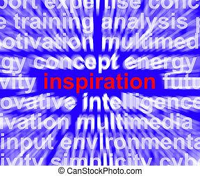 palavra, ampliando, positivo, encorajamento, pensando, mostra, inspiração