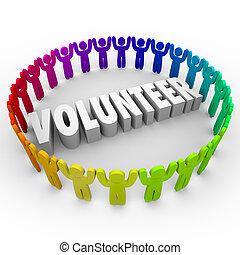 palavra, ao redor, pessoas, 3d, tempo, anel, doar, voluntário