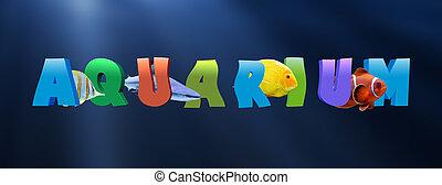 palavra, aquário, com, muitos, peixe tropical