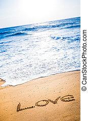 palavra, areia, amor, escrito