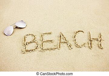 palavra, areia praia, subglasses