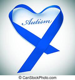 palavra, autism, azul, fita, formando, um, coração