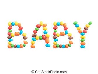 palavra, bala doce, isolado, multicolored, fundo, bebê, branca