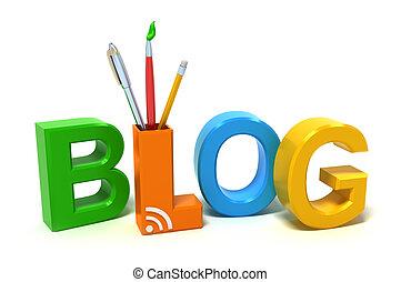 palavra, blog, com, colorido, letras