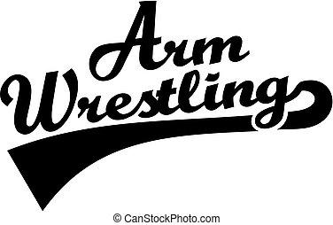 palavra, braço wrestling, retro