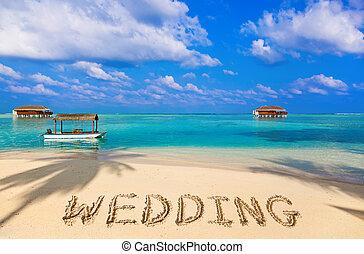palavra, casório, ligado, praia