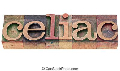 palavra, celíaco, tipo, letterpress