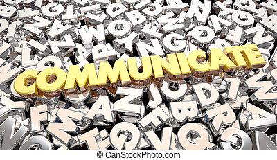 palavra, colagem, parte, comunicar, idéias, animação, letras, 3d