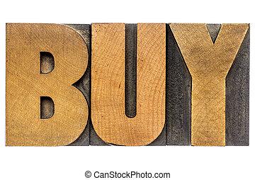 palavra, compra, madeira, tipo