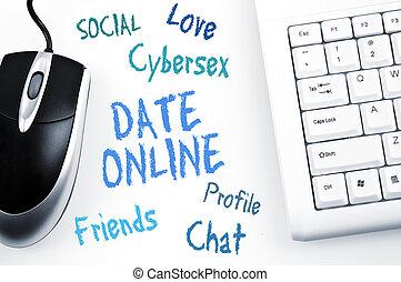 palavra, computador teclado, online, data, esquema