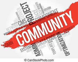 palavra, comunidade, nuvem