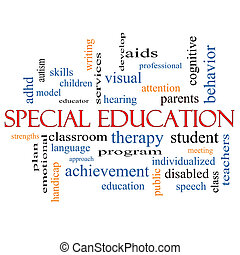palavra, conceito, educação, especiais, nuvem
