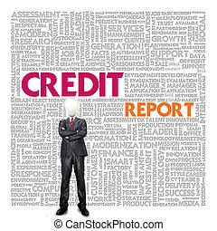 palavra, conceito negócio, relatório crédito, nuvem