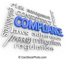 palavra, conformidade, legal, regulamentos, fundo, adesão