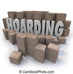 palavra, confusão, hoarding, cima, cobrança, empilhado, caixas, lixo