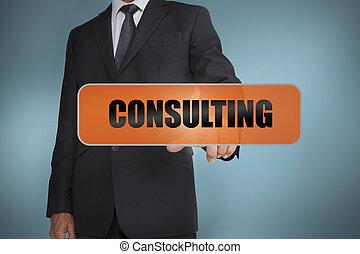 palavra, consultar, tocar, homem negócios