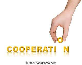 palavra, cooperação, mão