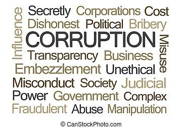 palavra, corrupção, nuvem
