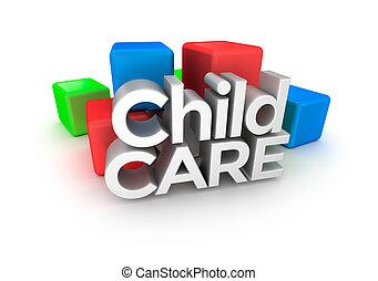 palavra, criança, conceito, 3d, cuidado