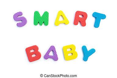 palavra, dado forma, alfabeto, quebra-cabeças, bebê, branca, esperto