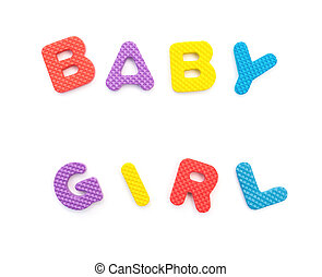 palavra, dado forma, alfabeto, quebra-cabeças, bebê, branca, menina